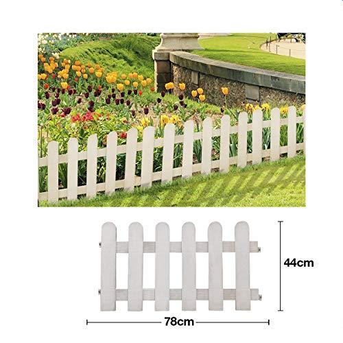 Comercial Candela Valla para Jardín Plástico PVC Diseño Granja para Decoración y Proteger los Bordes del Césped, Patio o Jardineras en Tierra 4 Unidades