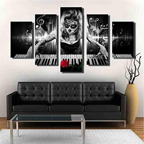 GIAOGE 5 stuks Dag van de dode gezicht schilderij piano muziek schedel poster canvas foto's wooncultuur hd prints woonkamer muurkunst lijst With mit gerahmtend 20x35 20x45 20x55 cm
