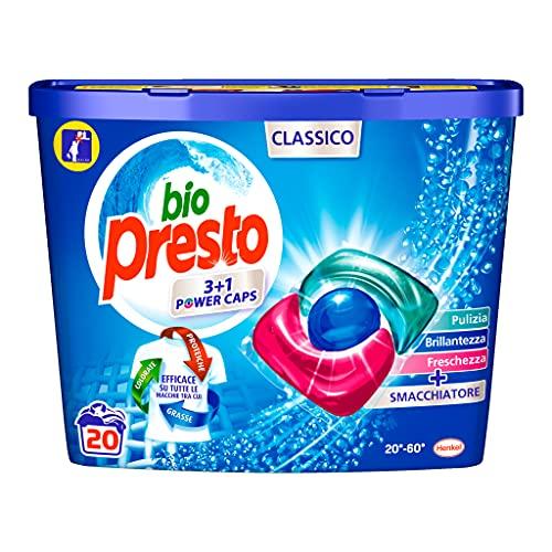 Bio Presto Bio Presto Power Caps Classico, detergente preencogido en cápsulas, paquete de 20 lavados – 260 g