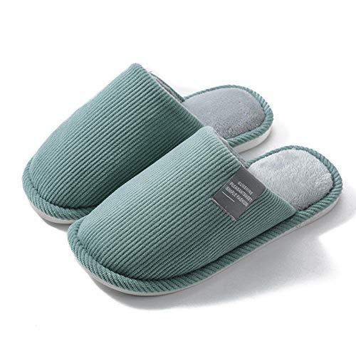 B/H Pareja Zapatos Slippers,Pareja de Pantuflas de algodón Antideslizantes, Pantuflas cálidas de Fondo Suave-Verde_37-38,Zapatillas Interior Casa Caliente