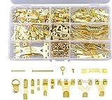 THETHO 266 pcs Gancho de Fotos de Metal, Colgadores de Cuadros con para Trabajo Pesado con Clavos para Montaje en Pared, Ganchos para Cuadros, Fotos, Reloj, Espejo (Dorado)