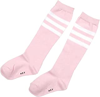 Ewanda store 1 Pair Cotton Over Knee High Long Soccer Socks School Team Dance Sports Socks for 4-5 Years Old Kids Girls Boys