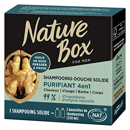 Nature Box – Shampooing Solide 4 en 1 Purifiant Noix – Cheveux/ Cuir Chevelu / Barbe / Corps – 85g