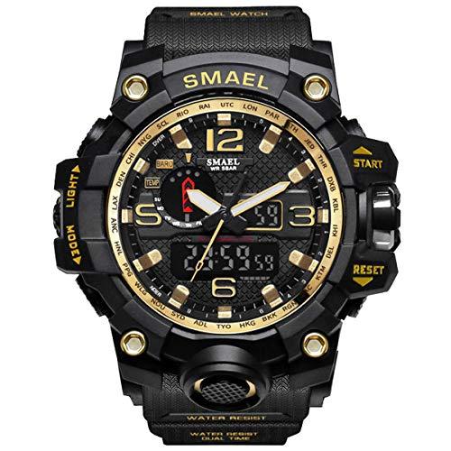 GOHUOS Herren Militärische Sportuhr, Analog Digital Sportuhr, Dual Time Display Casual 50m wasserdichte männliche Chronograph Quarz Armbanduhr mit PU-Uhrenarmband(Schwarz Gelb)