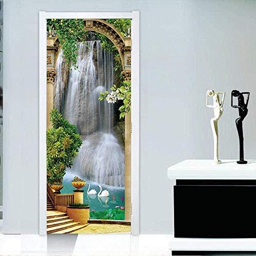 Türaufkleber 3D-Wandbild Wasserdichtes selbstklebendes Papier Schlafzimmer Wohnzimmer Wandaufkleber Türaufkleber Dekoration-IgUDe -95 cm (B) * 215 cm (H)