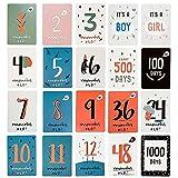 YiRAN Baby Milestone Cards - 20 tarjetas de fotos unisex para momentos de interés - Juego de regalo perfecto para baby shower