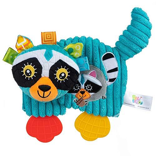 Balibazoo 80153 Raccoon Teether John, Clip & Go Sensorikspielzeug, Babyspielzeug, Plüschtier, Kinderbettzeug, Babyfreund, Kinderwagenanhänger, sicheres Spielzeug ab 0 Monaten