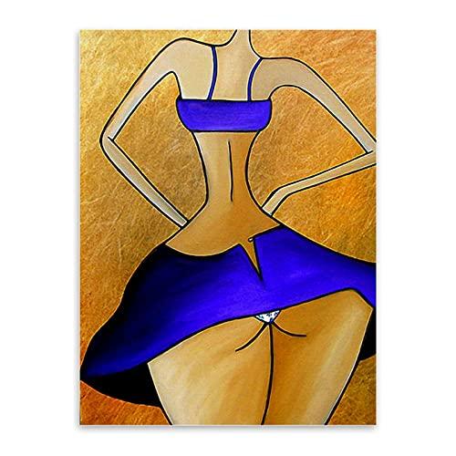 FANBUHUA Impresión en Lienzo Pintura Abstracta en Lienzo Big Ass Woman Posters e Impresiones Arte de la Pared Decoración Divertida de la habitación (30x40cm) Sin Marco