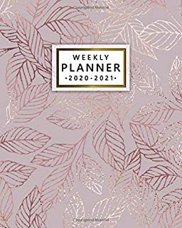 2020-2021 Weekly Planner: Pretty Rose Gold Two Year Weekly Schedule Agenda & Planner - 2 Year Organizer with To-Do's, U.S. Holidays, Inspirational ... Board & Notes - Beautiful Autumn Leaves