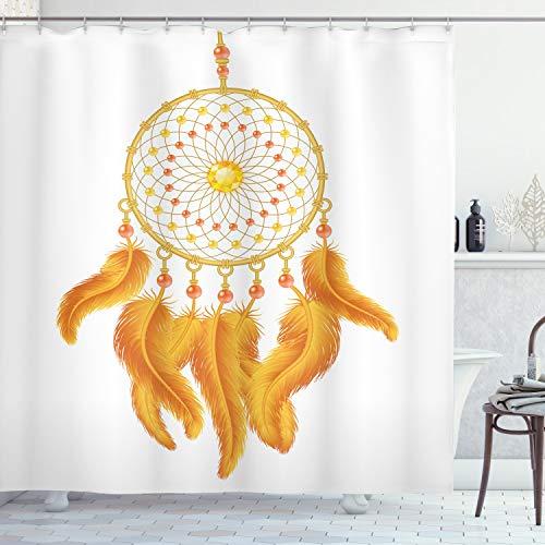 ABAKUHAUS Amerikanischer Ureinwohner Duschvorhang, Indianer, Wasser Blickdicht inkl.12 Ringe Langhaltig Bakterie & Schimmel Resistent, 175 x 240 cm, Rinden weißen
