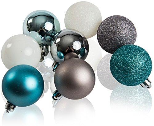 CHICCIE Lot de 16 boules de Noël en blanc, argent et turquoise - 5 cm - Décoration pour sapin de Noël.