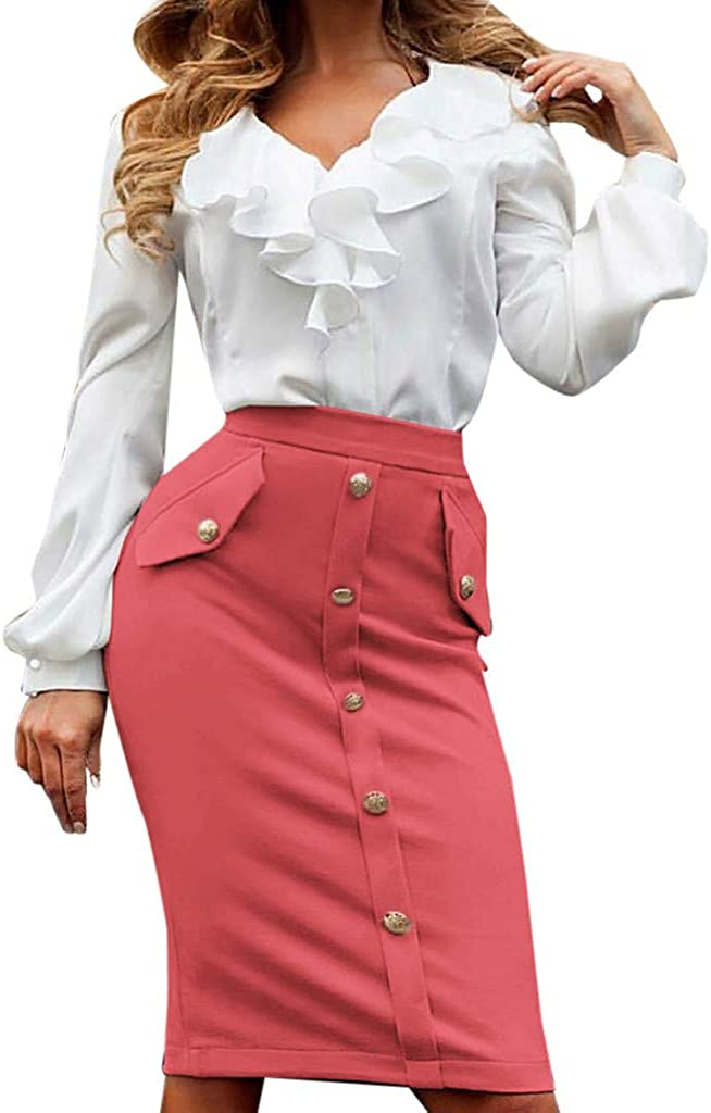 MODOQO High Waisted Skirt for Women Casual Bodycon Button Front Party Pencil Long Skirts