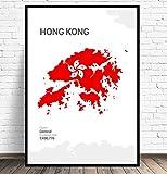 Hong Kong Karte Leinwand Malerei Wandkunst Bilder Drucke