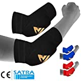 RDX MMA Elbow Support Brace Sleeve Pads Guard Bandage Elasticated Shield Protector,Black,Large, Large, Black