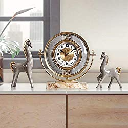 YUHAO Retro Gray Bronze Table Clock Living Room Bedroom Bedside Entrance Decoration Antique Horse Golden Ceramic Mute Silent Non-tick Clock 3 Set
