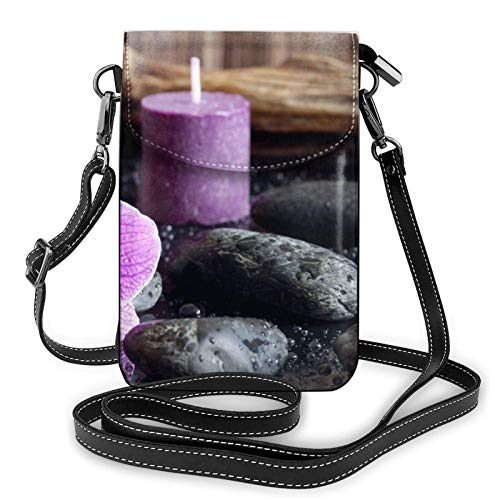 Crossbody Cell Phone Purse Purple Flowers And Candles Small Crossbody Bags Women Pu Shoulder Bag Handbag