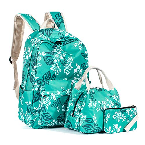 Leaper Water-Resistant Floral School Backpack Girls Lunch Bag Purse Water Blue