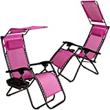 Set of 2 Zero Gravity Outdoor Lounge Chairs w/Sunshade +Cup Holder with Mobile Device Slot Adjustable Folding...