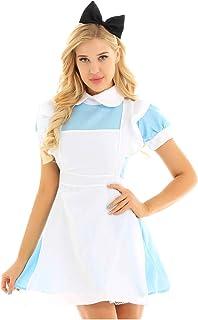 07b77a8f45853 Alvivi Femme Déguisement Lolita Maid Robe Bleu Clair Fille Cosplay Alice au  Pays des Merveilles Costume