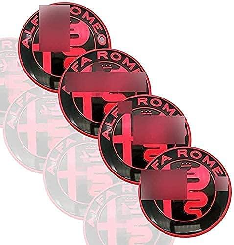 LZYYDS 4 Piezas Tapas Centrales Rueda para Alfa Romeo Mito 147 156 159 166,Aluminio Coche Tapacubos Centra,Tapas Centrales De Llantas Pegatinas El óXido con El Logo,DecoracióN Coche 56mm