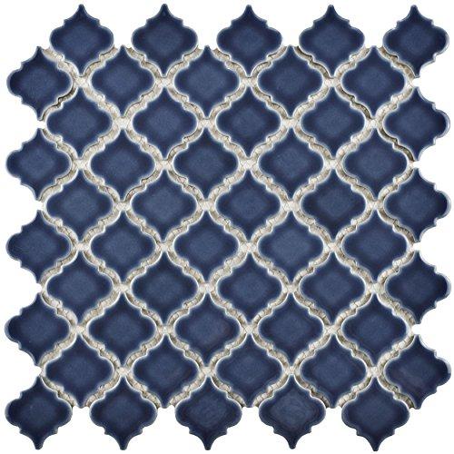 SomerTile FKOLTR41 Tinge Porcelain Mosaic Floor and Wall Tile, 12.375' x 12.5', Denim Blue, 10 Piece