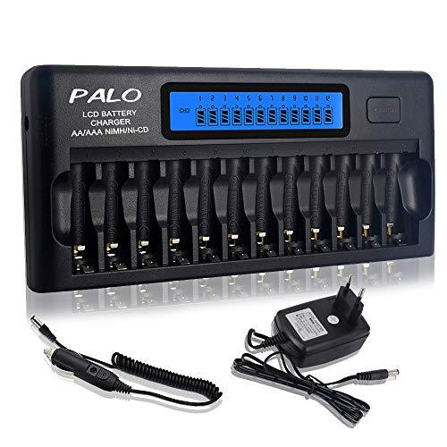 PALO 12 Bays/Slots Smart-Ladegerät für AA/AAA-NI-MH- / NI-CD-Akkus mit intelligentem LCD-Display und Entladung sowie integriertem IC-Schutz und Netzteil