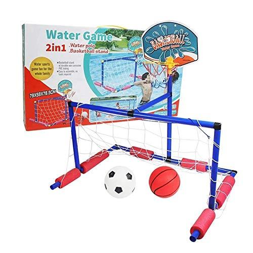 JooDaa Neues Zwei-in-Eins-Amphibienziel Schwimmendes Wasserball-Spielset Aufblasbares Schwimmbadspielspielzeug mit Basketballkorb