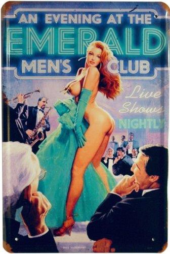 Metalen bord PinUp Emerald Men`s Club 20 x 30 cm reclame retro blik 963