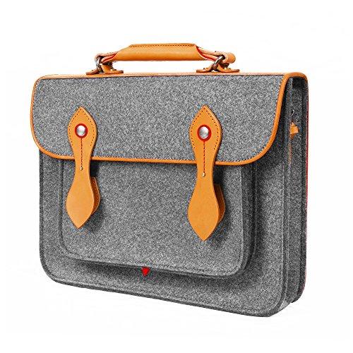 TOPHOME 13.3 inch Laptop Case Business Office Backpack Messenger Bag Wool Felt Shoulder Strap Bag Leather Briefcase for the old&new MacBook Notebook/Tablet/Acer/HP/Dell/Lenovo