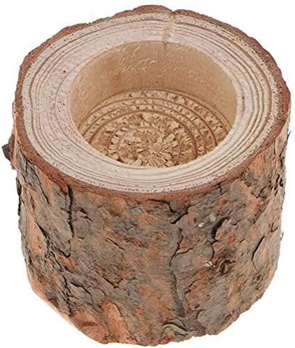YGXR Furniture and kitchen decorations, Natural Pine Wood Tree Branch Wooden Candle Holder Handmade Candlesticks for Home Decoration, Succulent Plant Birch Bark Holder - 6cm