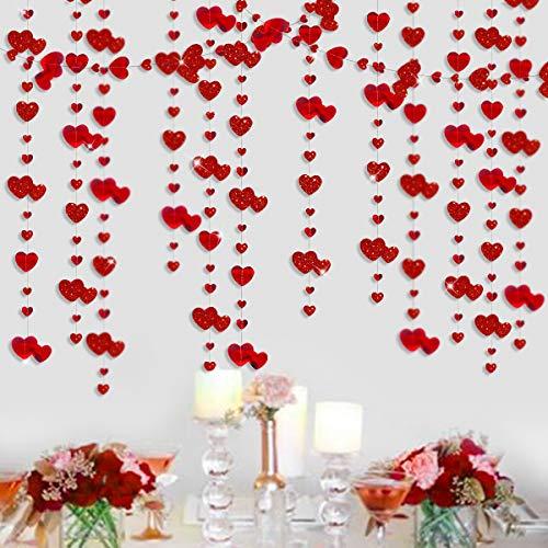 Pink Blume Girlande 16 m doppelt in rot mit hängendem Herz Girlande mit Glitzer doppelseitig aus metallischem Papier für Junggesellinnenabschied, Geburtstag, Valentinstag Dekoration