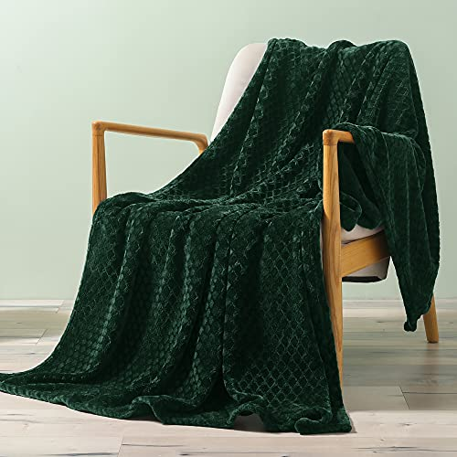 """Exclusivo Mezcla Brushed Diamond Check Large Flannel Fleece Throw Blankets (Forest Green, 50"""" x 70"""")-Soft, Warm and Lightweight"""