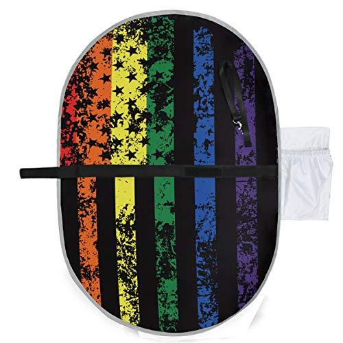 Divertido Rainbow Bandera Americana Orgullo Gay Pañales Estera Niñas Cambiador 27x10 Pulgadas Impermeable Estera Plegable Bebé Cambiador Portátil Viaje Bebé Cambiador Estera
