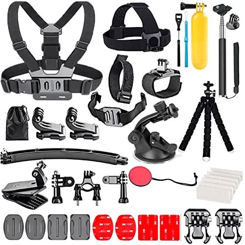 YHTSPORT Kit de accesorios de cámara de acción para GoPro Hero 10 9 8 Max 7 6 5 4 Negro GoPro 2018 Sesión Fusion Plata Blanco Insta360 DJI SJCAM APEMAN AKASO y otras cámaras (28 en 1)