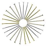 TOAOB Head pins oro plata 26mm de bronce antiguo al por mayor para fabricación de joyería Pack de 600Unidades