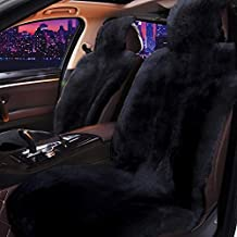 Real Sheepskin Car Seat Cover for Car SUV Auto Front Seats Only Genuine Fur Car Seat Cover Fuzzy Car Seat Cover - Universal (Black,One Piece)