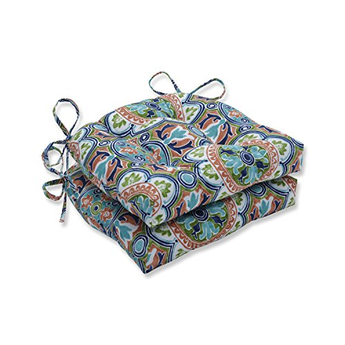 Pillow Perfect Outdoor | Indoor Lagoa Tile Flamingo Reversible Chair Pad (Set of 2), Blue 16 X 15.5 X 4
