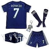 GamesDur 2020/2021 Neu Juve #7 Ronaldo Auswärts Marineblau Kinder Fußballtrikot-Hose Set Jugendgrößen (Auswärts, 30)