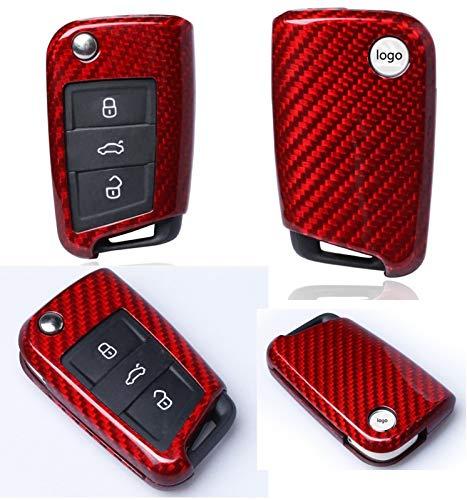 Max Auto Carbon ® ROT Carbon Look Gfk Schlüssel Cover Hülle Etui für Golf 7 VII Fabia Rapid Octavia Tiguan Touran Leon