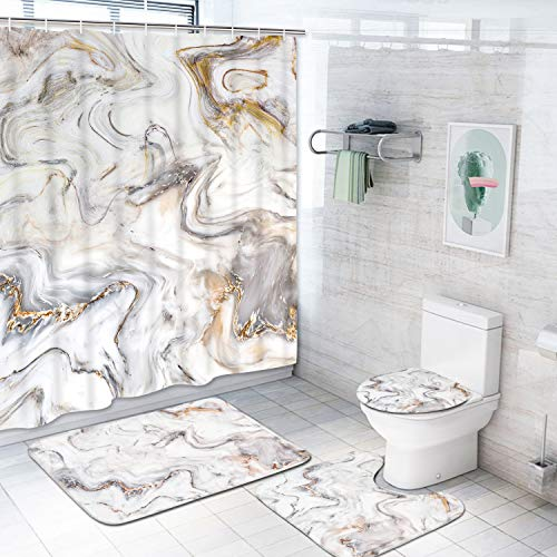 4 Piece Marble Texture Shower Curtain Sets with Non-Slip Rugs, Toilet Lid Cover and Bath Mat, Natural Marble Shower Curtain with 12 Hooks, Durable Waterproof Shower Curtain