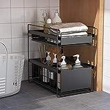 vocheer Sliding Storage Basket, 2-Tier Under Sink Cabinet Organizer with Sliding Basket Organizer Pull Out Sliding Basket Organizer Drawer for Bathroom, Kitchen, Office, Black