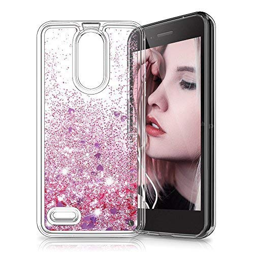 Gypsophilaa Funda LG K8 2018/K9 3D Glitter Liquido Brillante Silicona Purpurina Carcasa,Transparente Cristal Bumper Telefono Gel TPU Fundas Case Cover para Movil LG K8 2018/K9