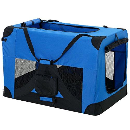 [pro.tec] Faltbare Hundetransportbox Gr. XXL 63,5 x 63,5 x 91,4cm Transportbox Katzenbox Hundebox Königsblau Pflegeleicht