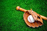 Assanu スポーツ野球の背景緑の芝生に置く野球グローブプレイゲーム7×5フィートの背景子供プレイ晴れスカイパーティー