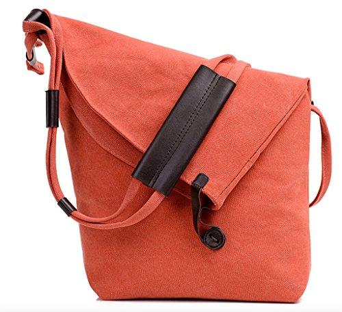WSLCN Unisexe Sac à Bandoulière en Toile Canvas Messenger Bag Crossbody Randonnée Orange