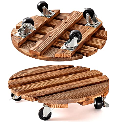 2 Pack Plant Caddy Wooden 12 Inch Plant Stand with Wheels Heavy Duty Rolling Plant Stand Round Plant Dolly Rollers Cart with Metal Lockable Casters for Outdoor/Indoor Large Plant Pot/Flower Pot/Patio