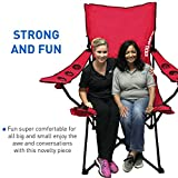 EasyGoProducts Giant Oversized Big Portable Folding Tailgating/Camping/Sports Outdoor Chair w/ 6 Cup Holders! Folds into Carry Bag (Red)