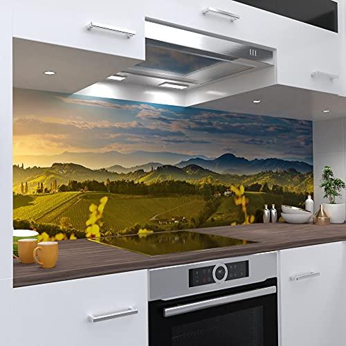One-Wheel | selbstklebende Küchenrückwand | 160x80 cm harte PVC Folie | Wandtattoo für Fliesenspiegel Design Landschaft Grün | Motiv: Weinlandschaft