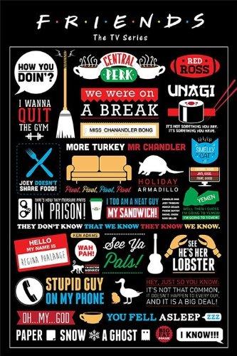 Friends Maxi Poster Laminato con Citazioni della Serie TV, 61 x 91,5 cm