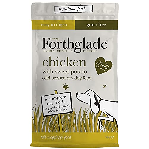 Forthglade Complete Natural Dry Dog Food - Grain Free Chicken (6kg) Resealable Bag - Easy to Digest Cold Pressed Dog Food for Puppy, Adult & Senior Dogs